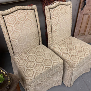 Dining Chairs in Gold Fabric with Skirt. - #01