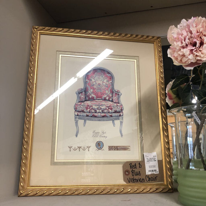 Art - Red & Blue Victorian Chair, Gold Frame 220B
