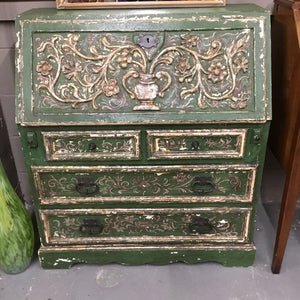 Antique Green Ornate Secretary Desk Cabinet #554