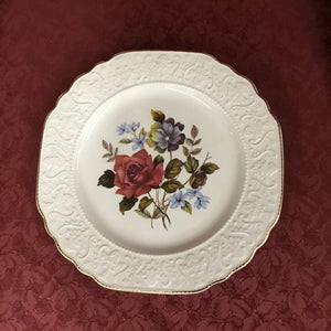 Ironstone Alpine White Plate w Rose