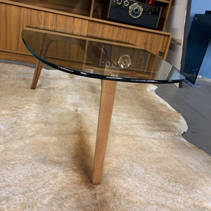 Mobican Viva Glass Coffee Table w Teak Legs