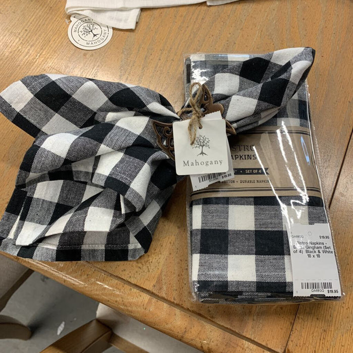 Bistro Napkins - Black Gingham (Set of 4)