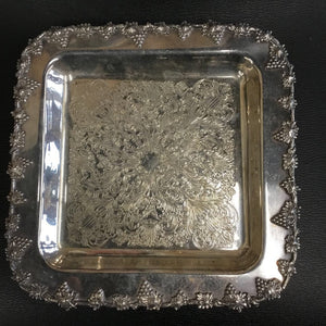 Small Square Silverplate Tray w Grapes