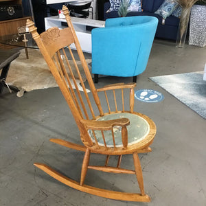 Solid Oak Rocking Chair w Floral Seat