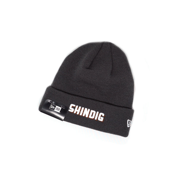 "Black knit touque with ""Shindig"" embroidered on the front, and the New Era logo on the side."
