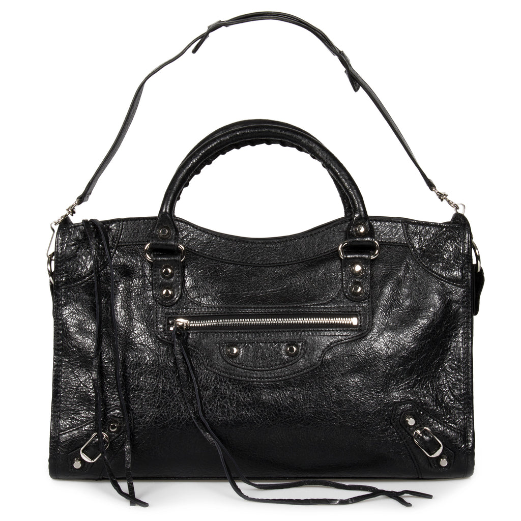 Balenciaga Classic Silver City Leather Bag | Black with Silver Hardware | Medium