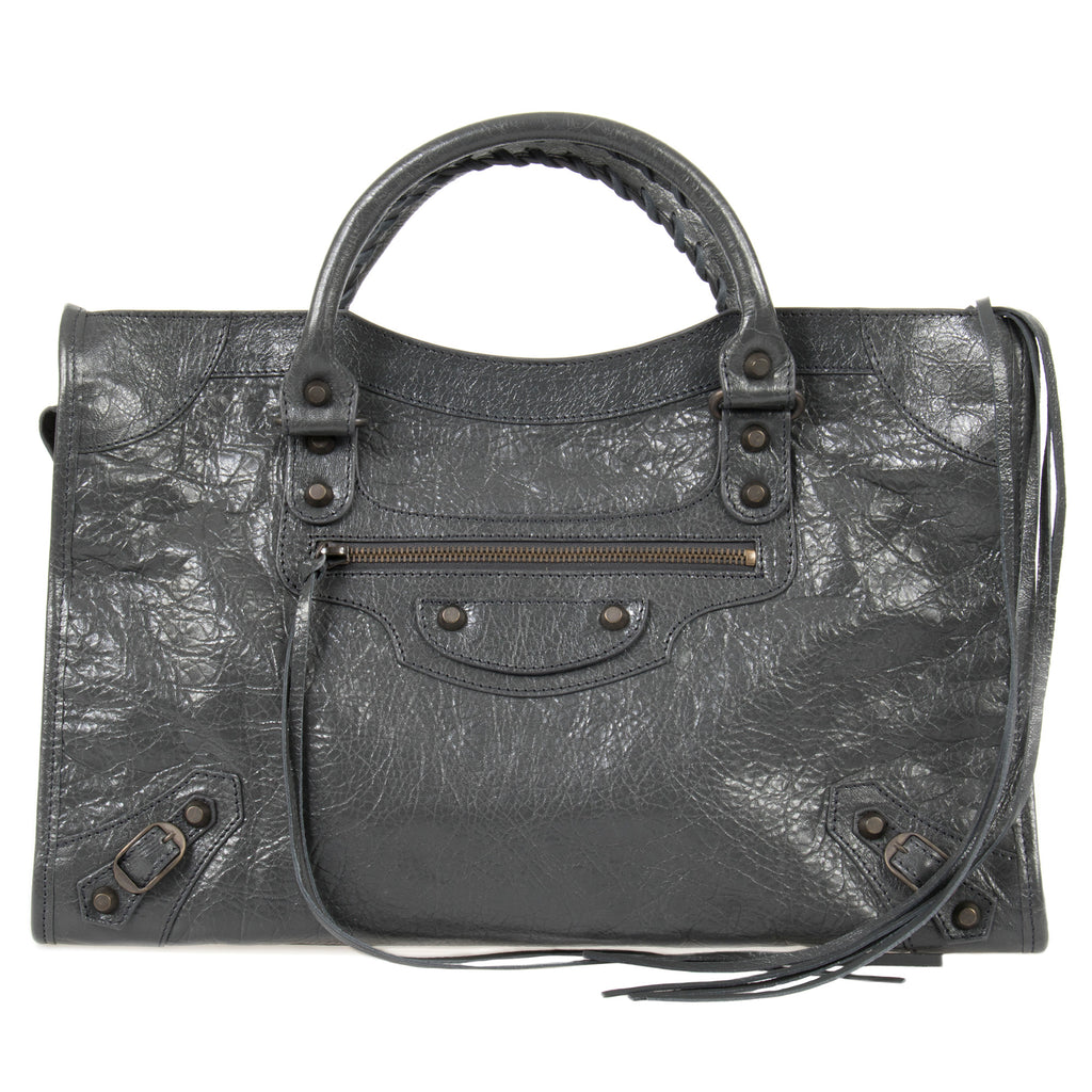 Balenciaga Classic City Bag | Fossil Gray with Rustic Brass Hardware