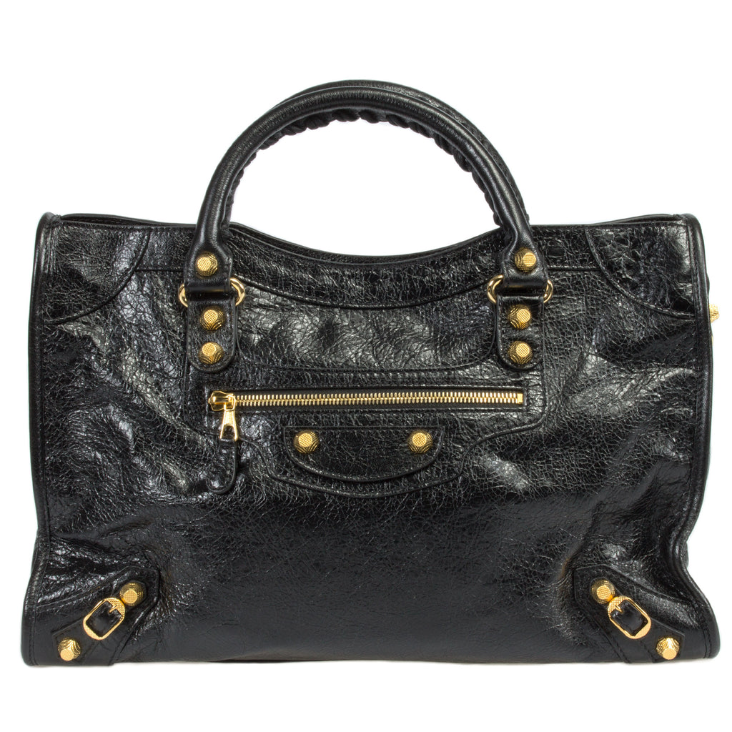 Balenciaga Giant 12 Gold City Bag | Black Lambskin Leather | Medium