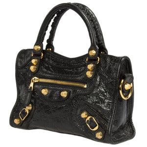 Balenciaga Giant 12 Gold Mini City Lambskin Bag in Black