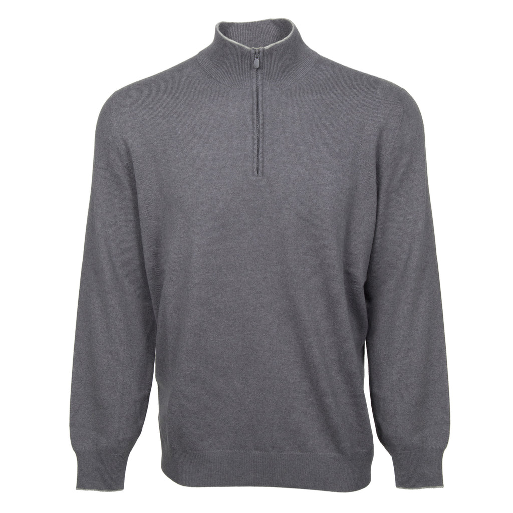 Brunello Cucinelli Lupetto Zip Cashmere Sweater in Gray
