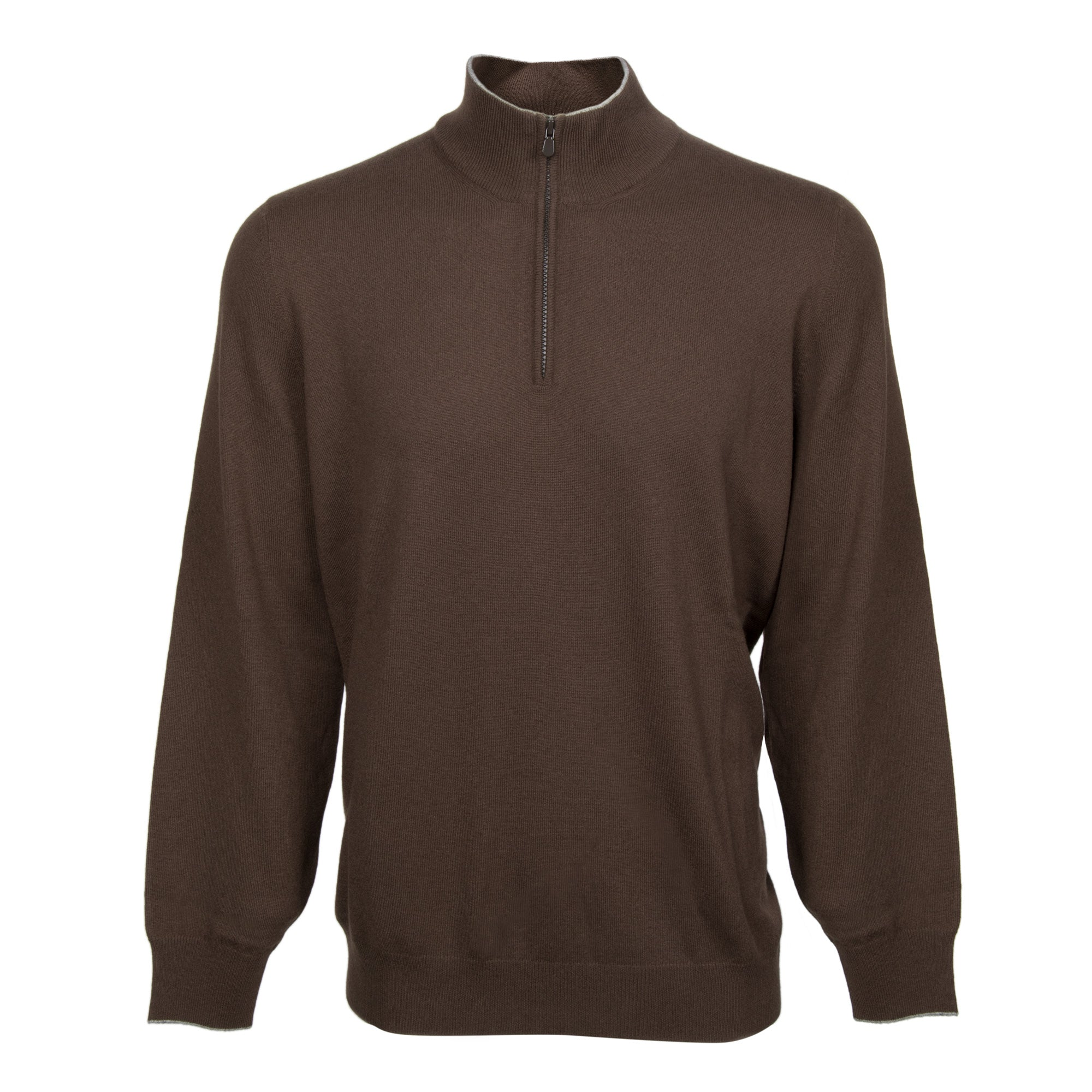 Brunello Cucinelli Lupetto Zip Cashmere Sweater in Brown