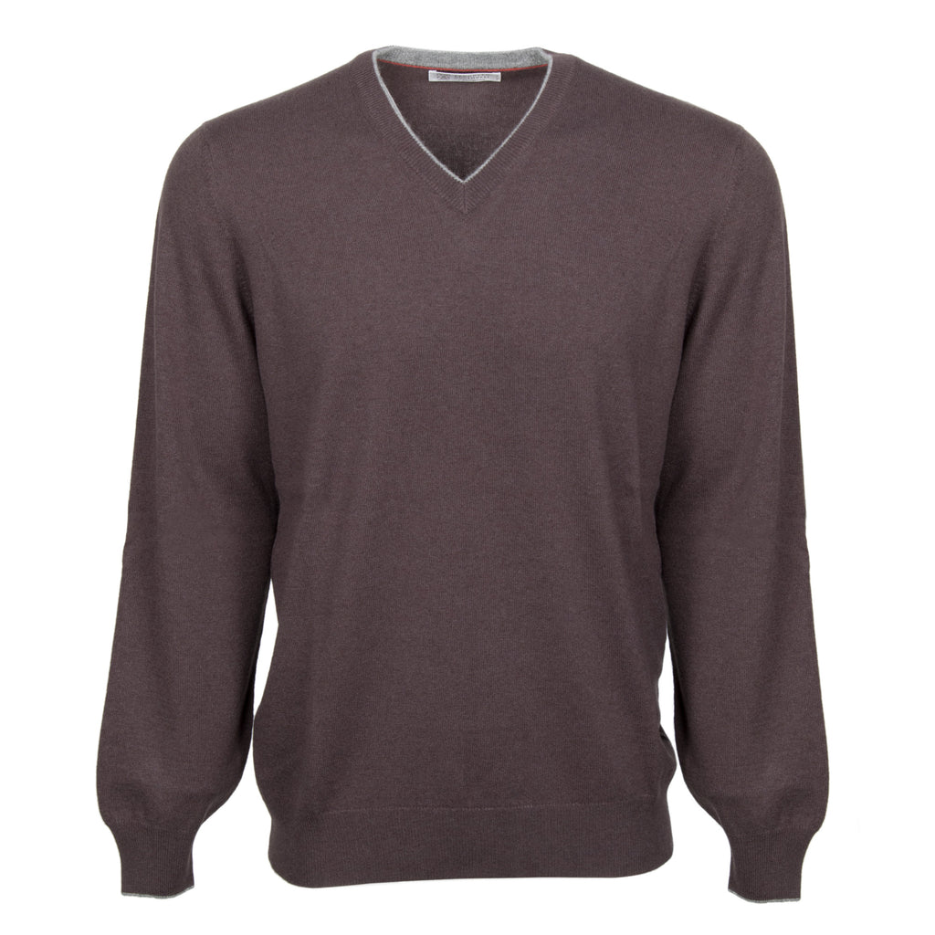 Brunello Cucinelli Classic V-Neck Cashmere Sweater in Brown