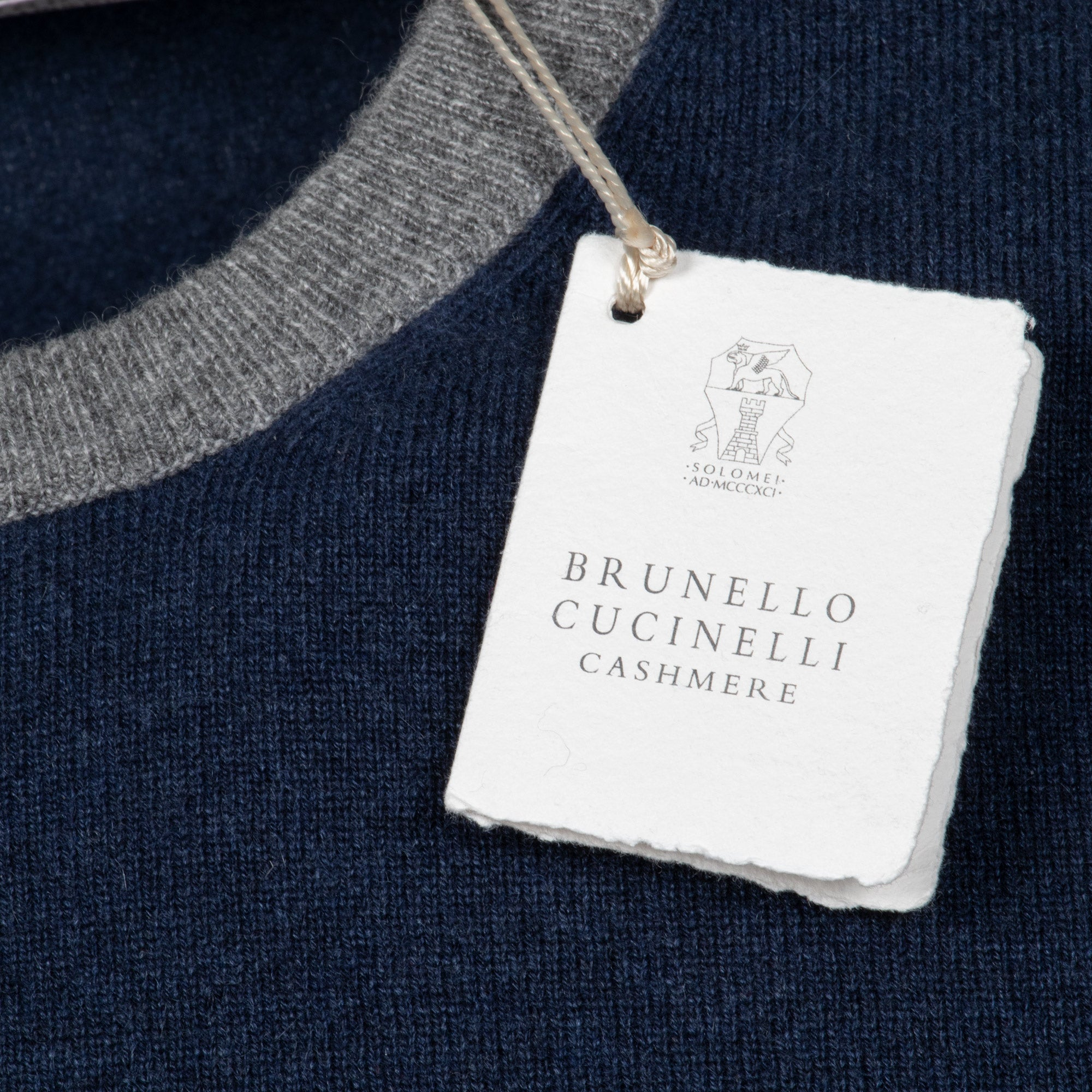 Brunello Cucinelli Crewneck Cashmere Sweater in Navy
