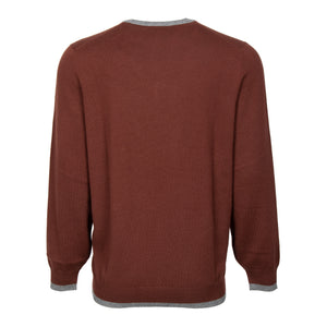 Brunello Cucinelli Classic V-Neck Cashmere Sweater in Burgundy