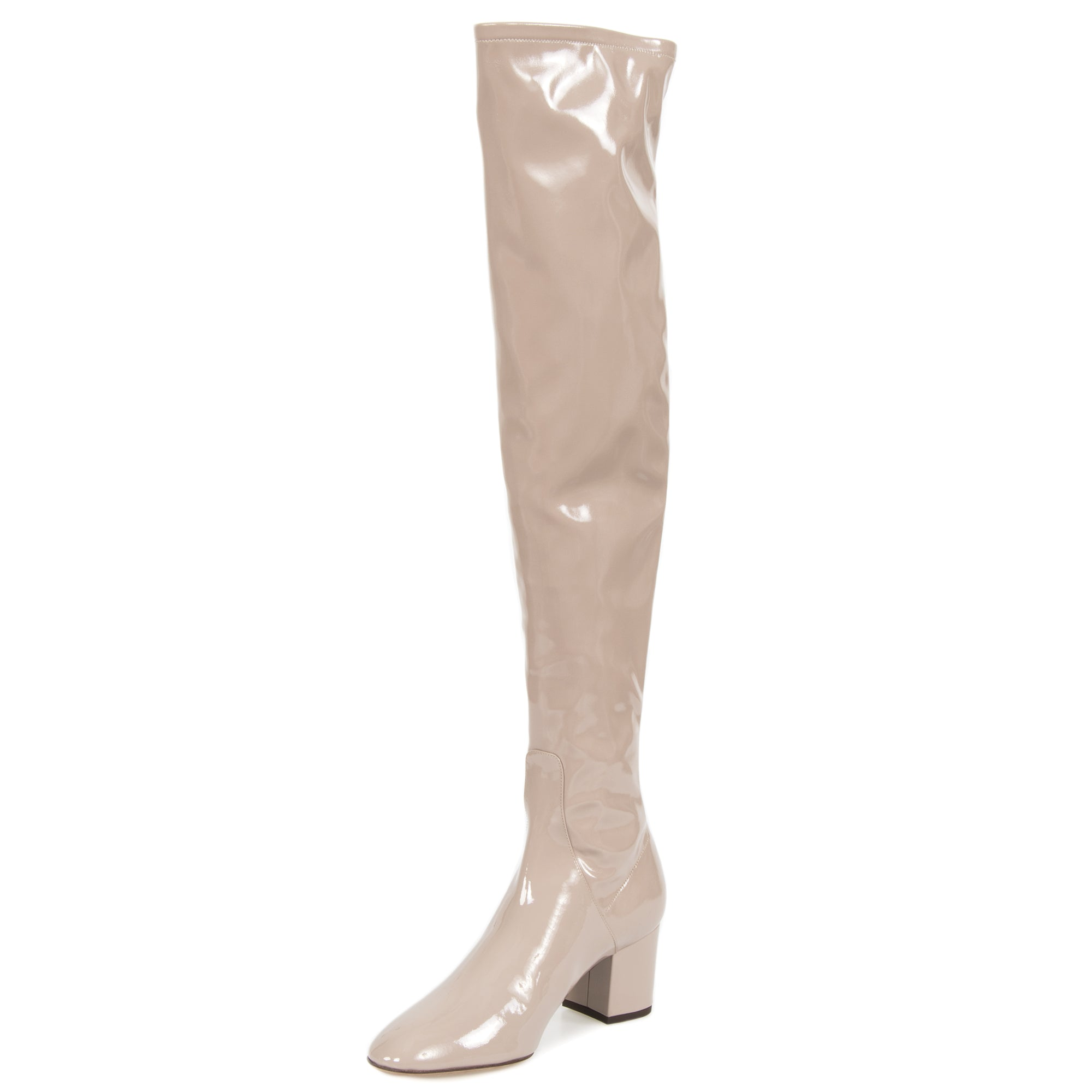 Valentino Patent Leather Over The Knee Boots | Poudre | Size 39.5