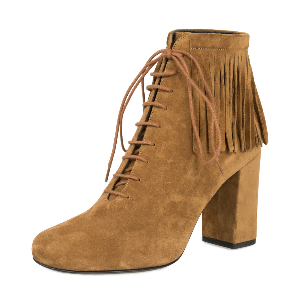 "Saint Laurent Fringed ""Babies"" Ankle Boots 