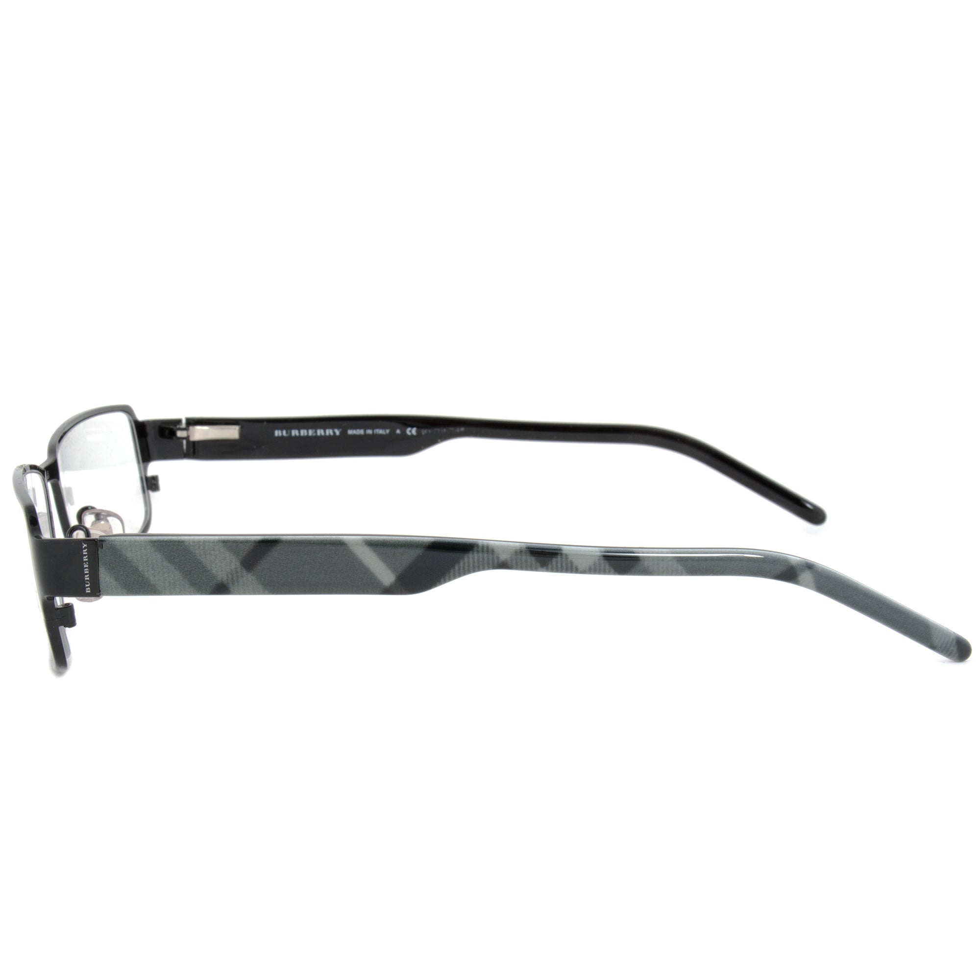 Burberry BE1195 1001 Rectangular | Black/Striped Grey| Eyeglass Frames