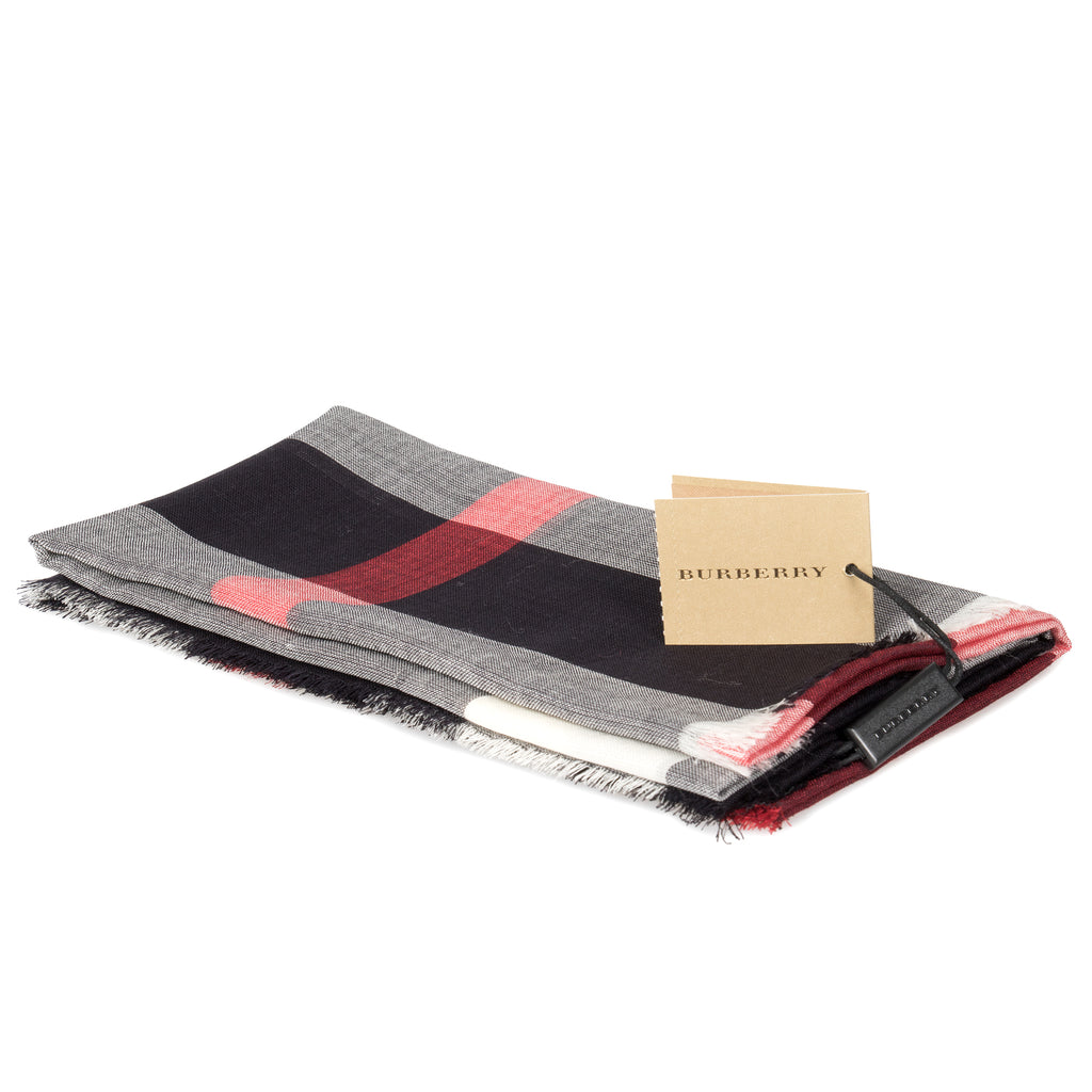 Burberry Lightweight Check Wool and Silk Scarf | Navy