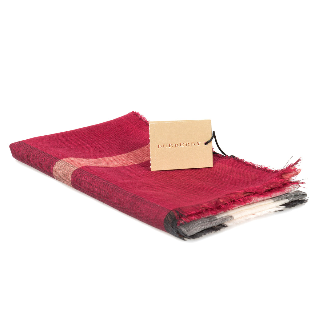 Burberry Lightweight Check Wool and Silk Scarf | Crimson Red