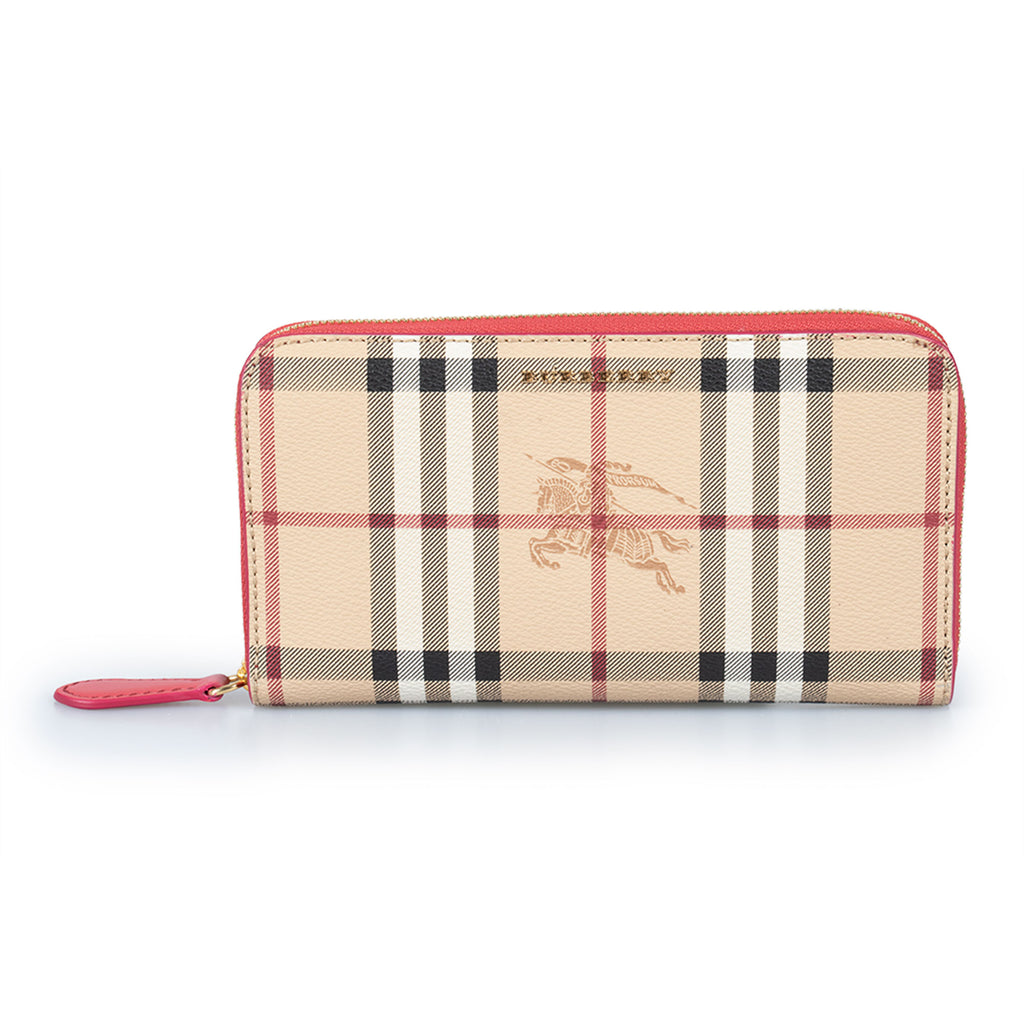 Burberry Burberry Horseferry Check Zip Around Wallet in Crimson Red