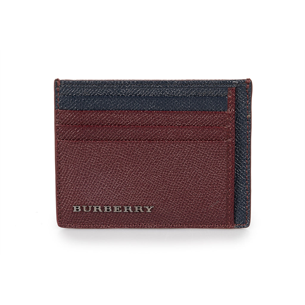 Burberry Burberry Blue and Burgundy Grained London Leather Bernie Card Case