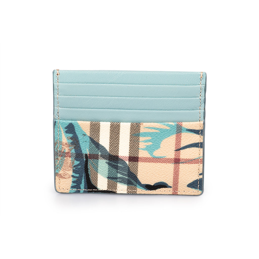 Burberry Burberry Sandon Trench Print Check and Blue Leather Card Case