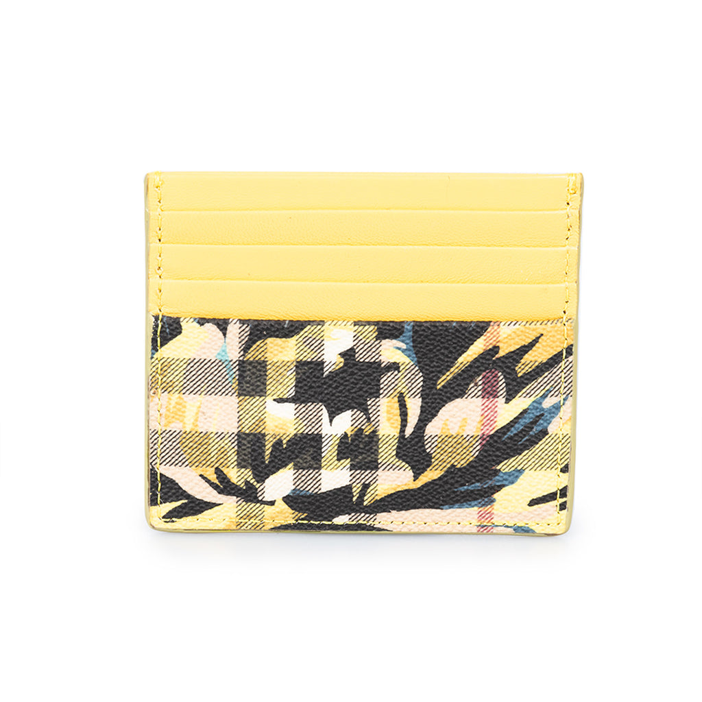 Burberry Burberry Sandon Trench Print Check and Yellow Leather Card Case