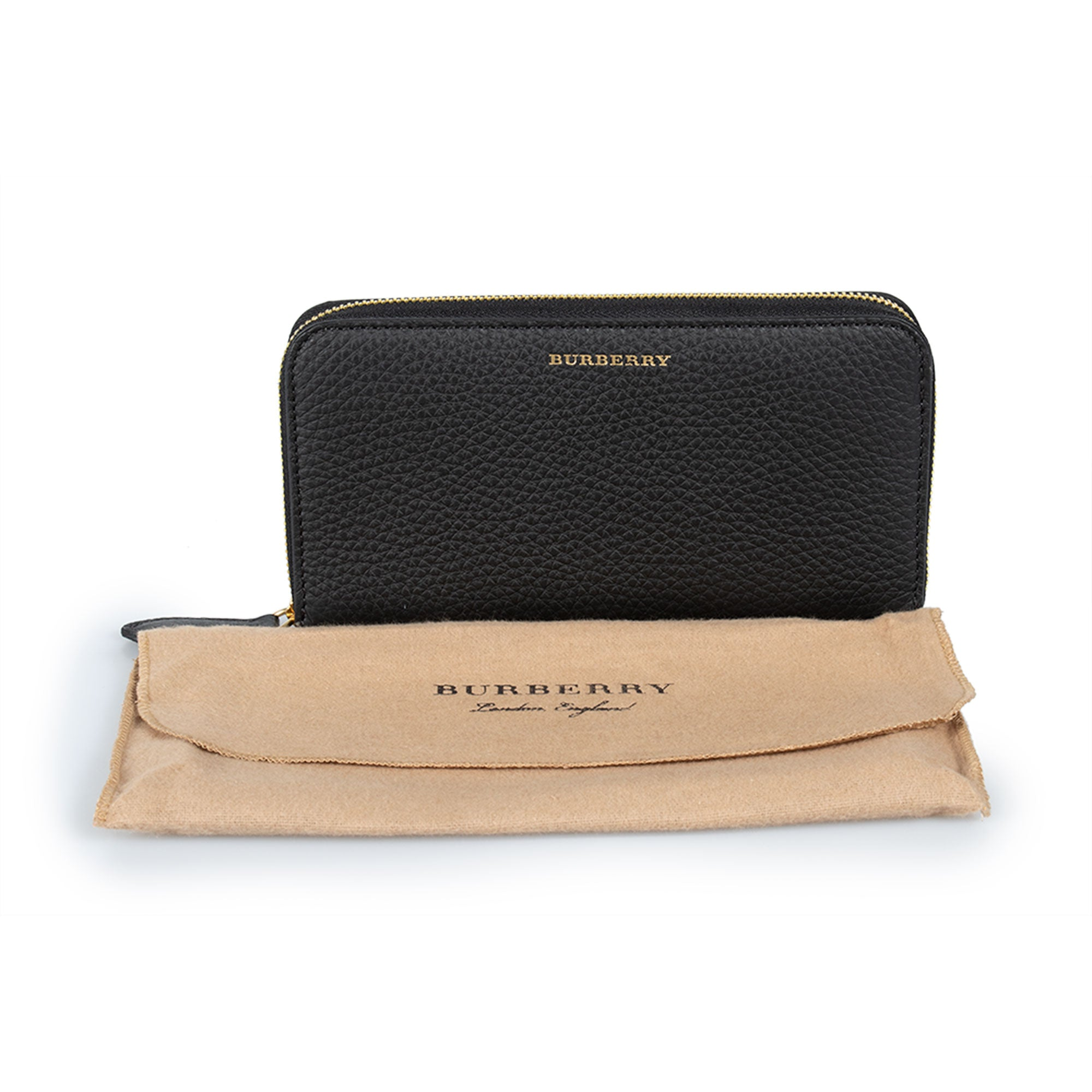 Burberry Burberry Elmore London Black Smooth Leather Zip Around Wallet