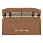 Burberry Burberry Haymarket Check and Brown Leather Card Case