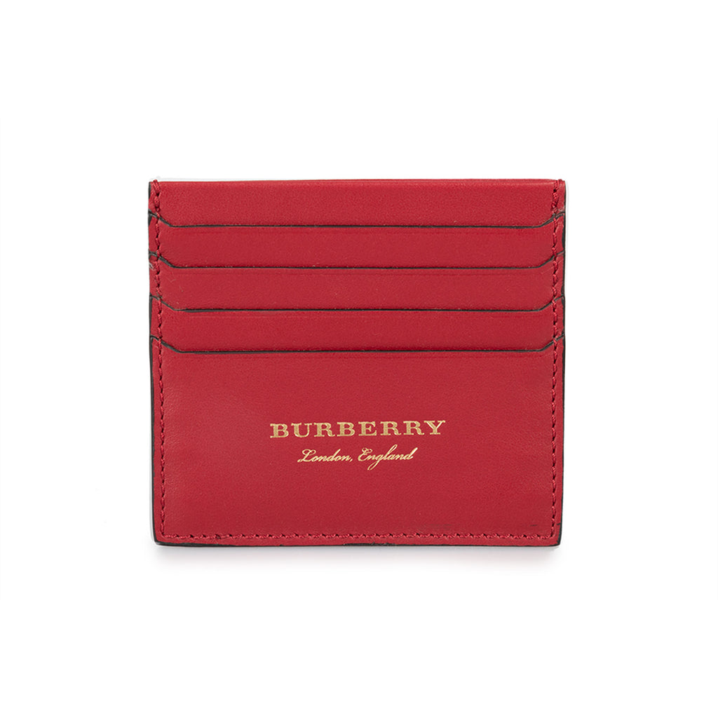 Burberry Burberry Sandon Trench Crimson Red Smooth Leather Card Case