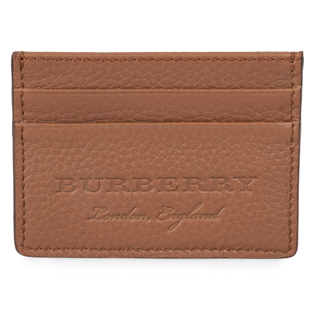 Burberry Burberry Sandon Brown Grained Leather Card Holder