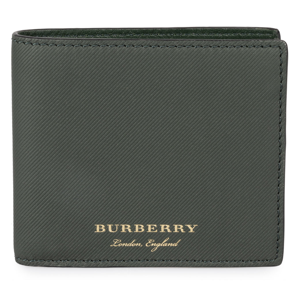 Burberry Burberry Trench Dark Green Ribbed Leather Hipfold Wallet