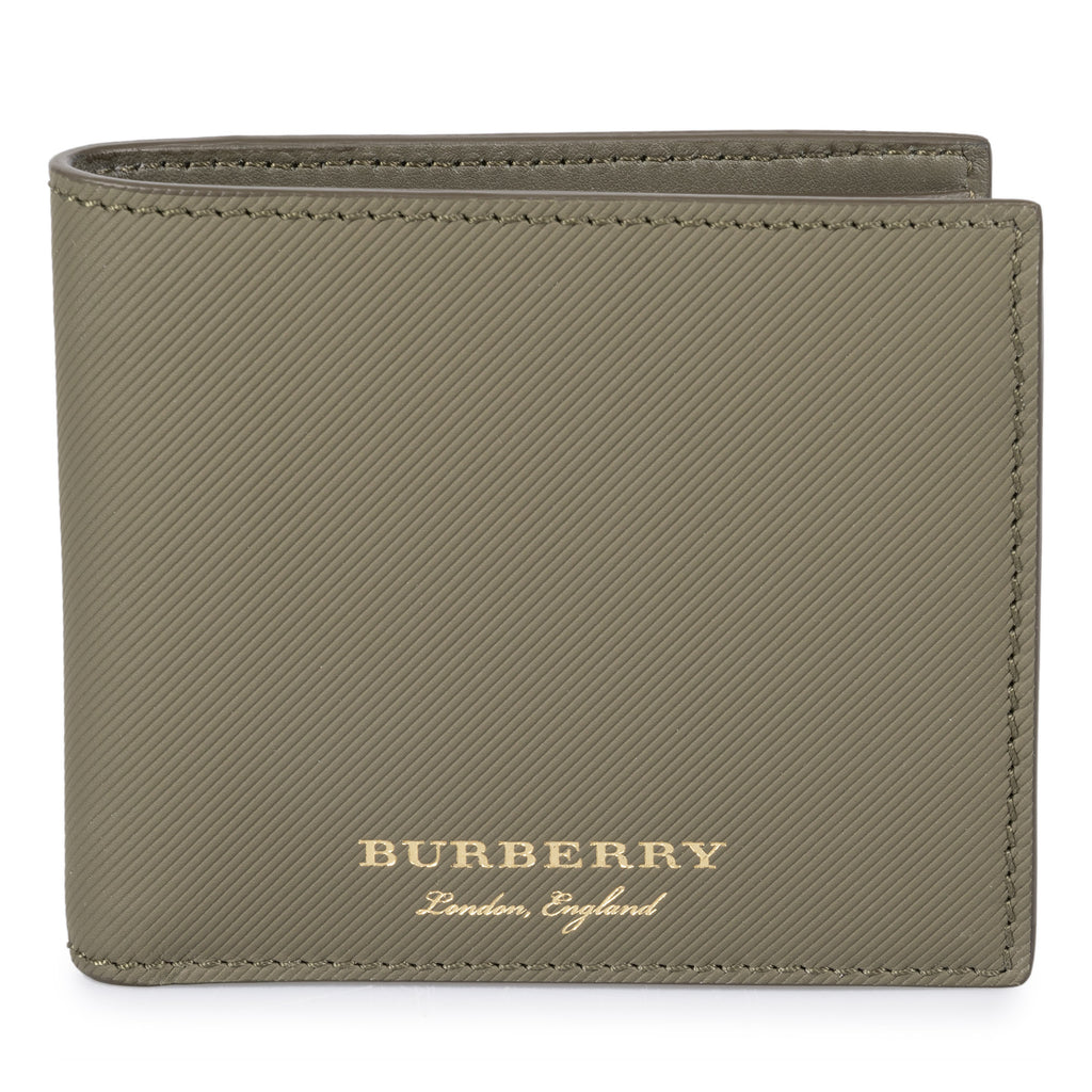 Burberry Burberry Trench Green Ribbed Leather Hipfold Wallet