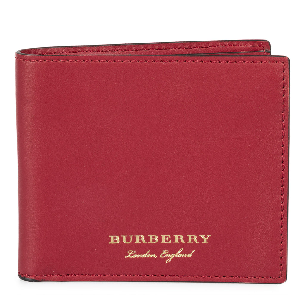 Burberry Burberry Trench Crimson Red Smooth Leather Hipfold Wallet