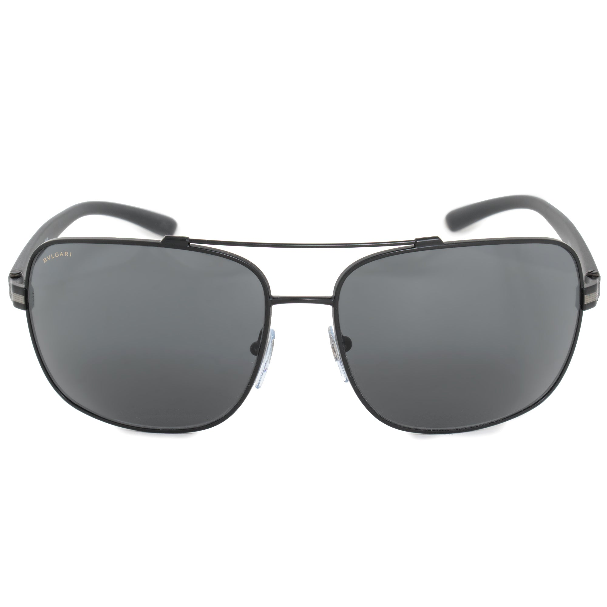 Bvlgari Aviator Sunglasses BV5038  | Matte Black Metal Frame | Gray Lenses