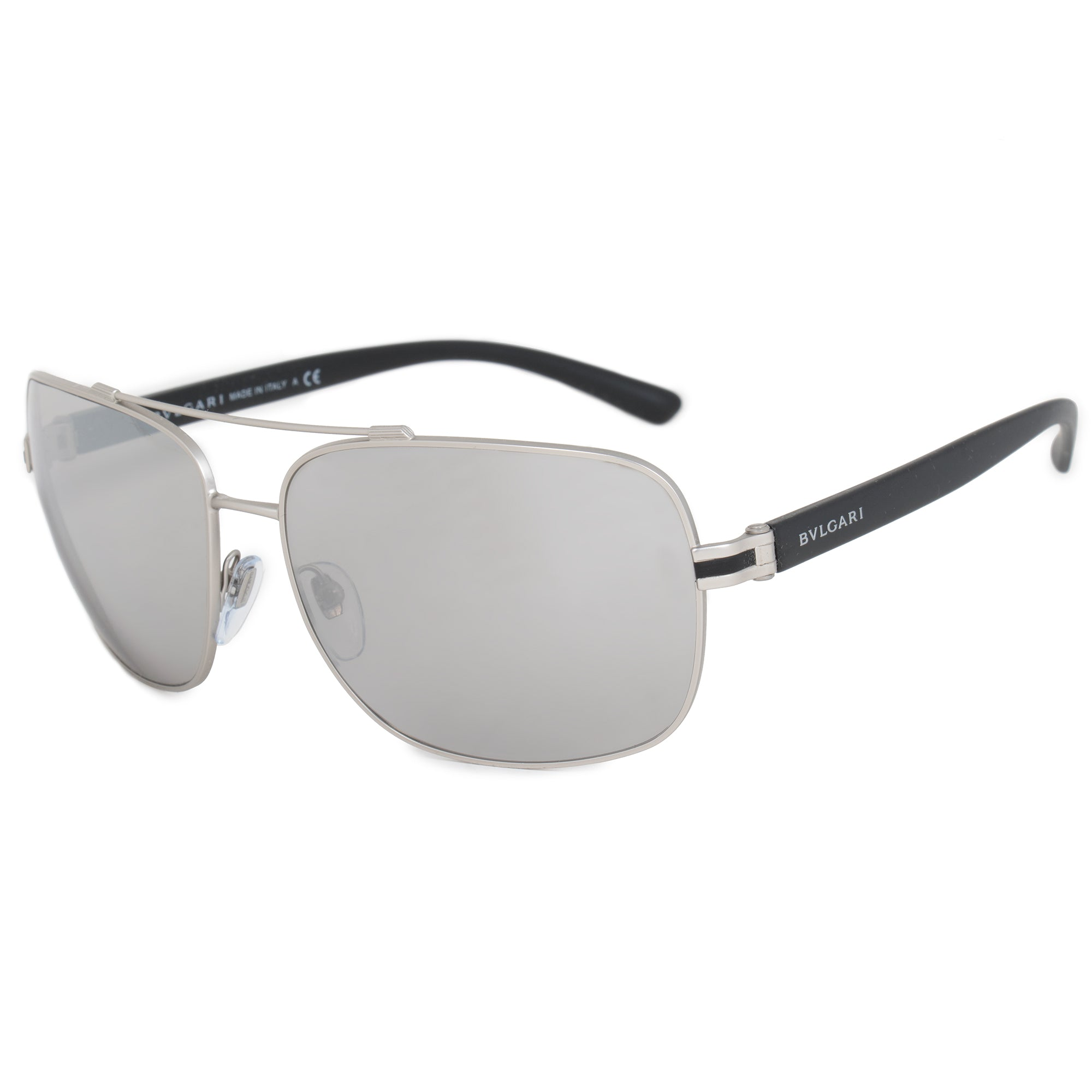 Bvlgari Aviator Sunglasses BV5038 | Matte Silver Metal Frame | Light Gray Mirror Lenses
