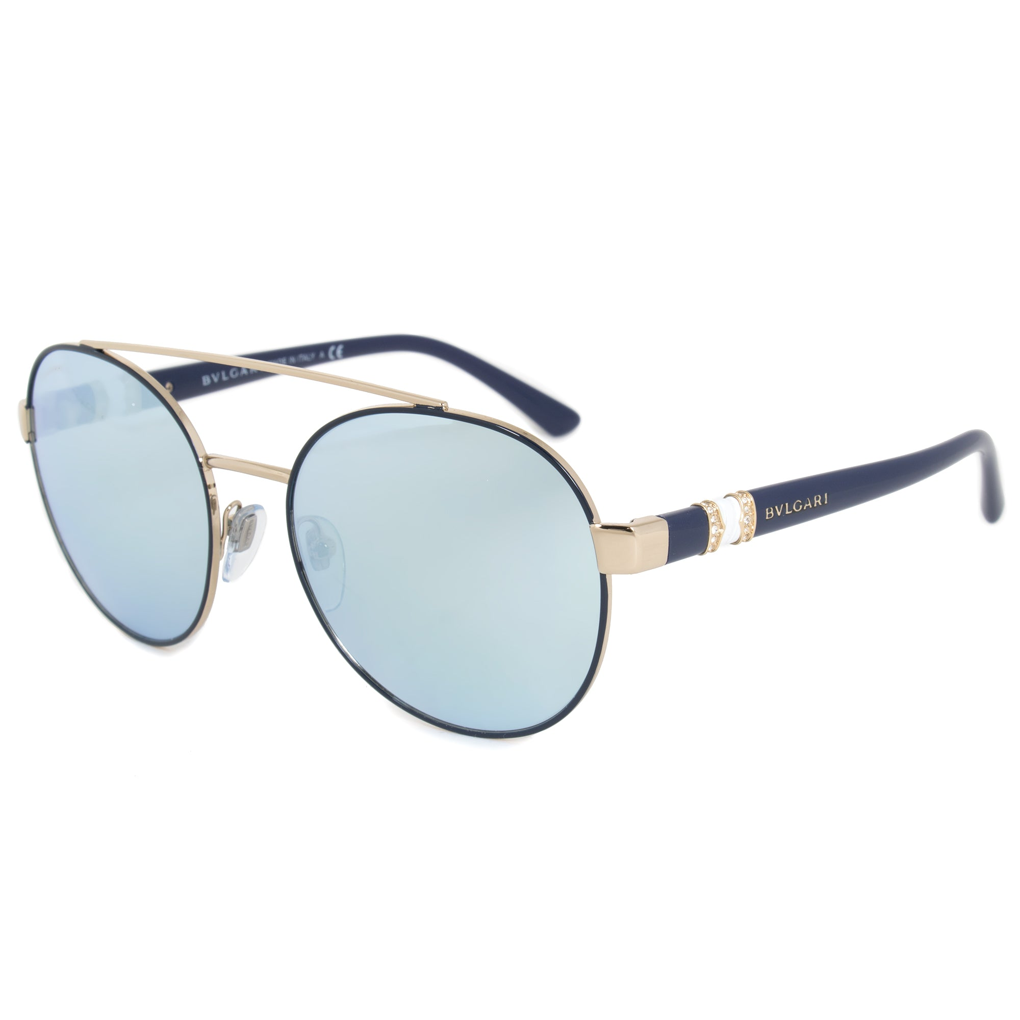 Bvlgari Round Sunglasses BV6085B | Blue Metal Frame | Blue Mirror Lenses