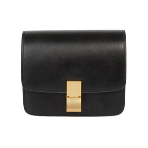 Celine Box Shoulder Bag | Black Calfskin with Gold Hardware | Mini