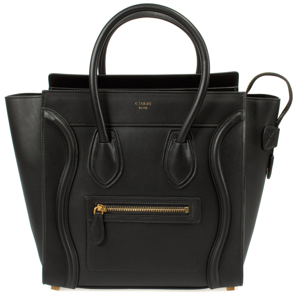 Céline Micro Luggage Handbag | Smooth Black Calfskin