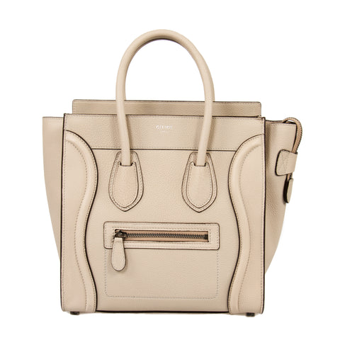 Celine Micro Luggage Leather Bag | Beige with Silver Hardware