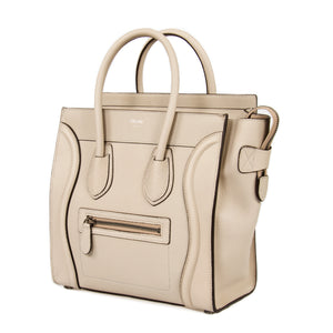Céline Micro Luggage Leather Bag | Beige with Silver Hardware