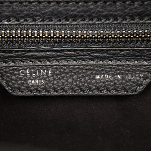 Céline Micro Luggage Tote Bag | Black Drummed Calfskin with Silver Hardware