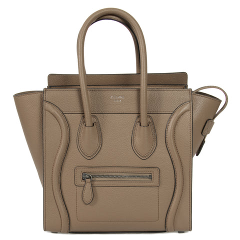Celine Micro Luggage Tote Bag in Dune Baby Drummed Calfskin Leather