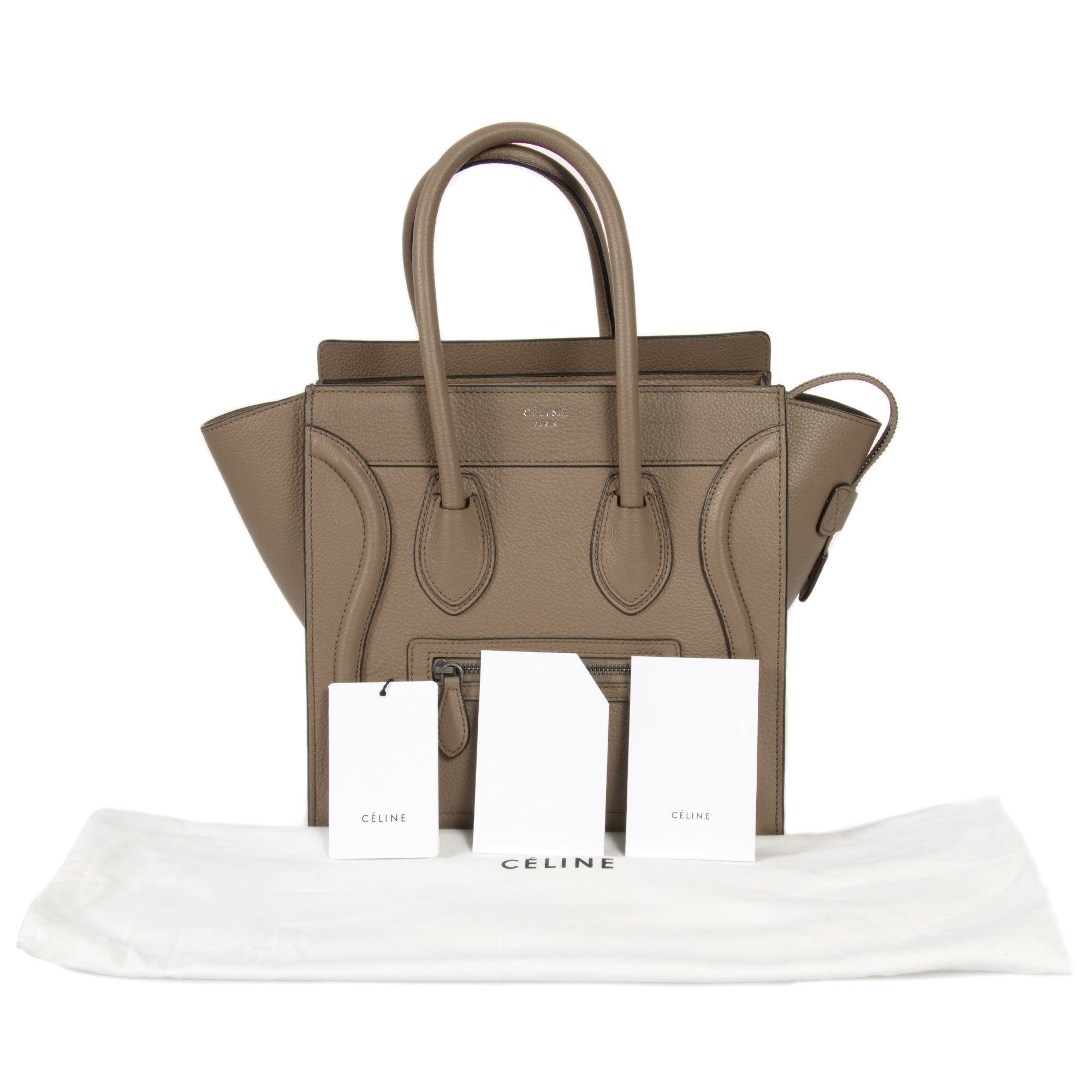 Céline Micro Luggage Tote Bag in Dune Baby Drummed Calfskin Leather