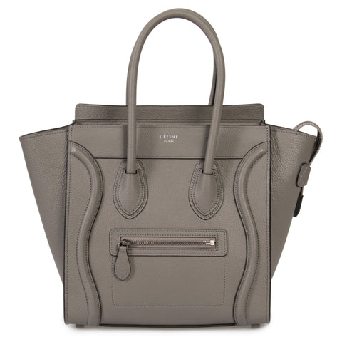 Celine Micro Luggage Tote Bag in Grey Baby Drummed Calfskin Leather