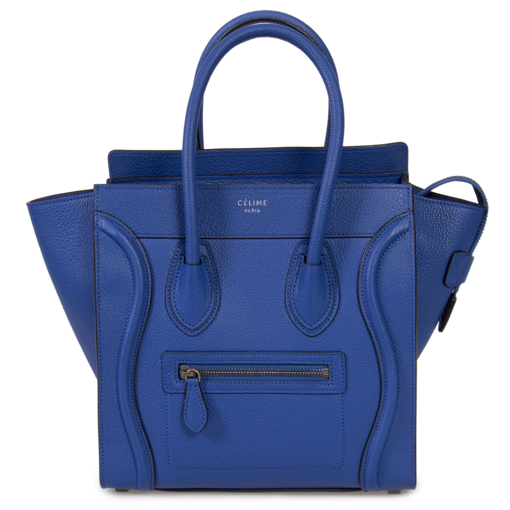 Céline Micro Luggage Tote Bag in Indigo Baby Drummed Calfskin Leather