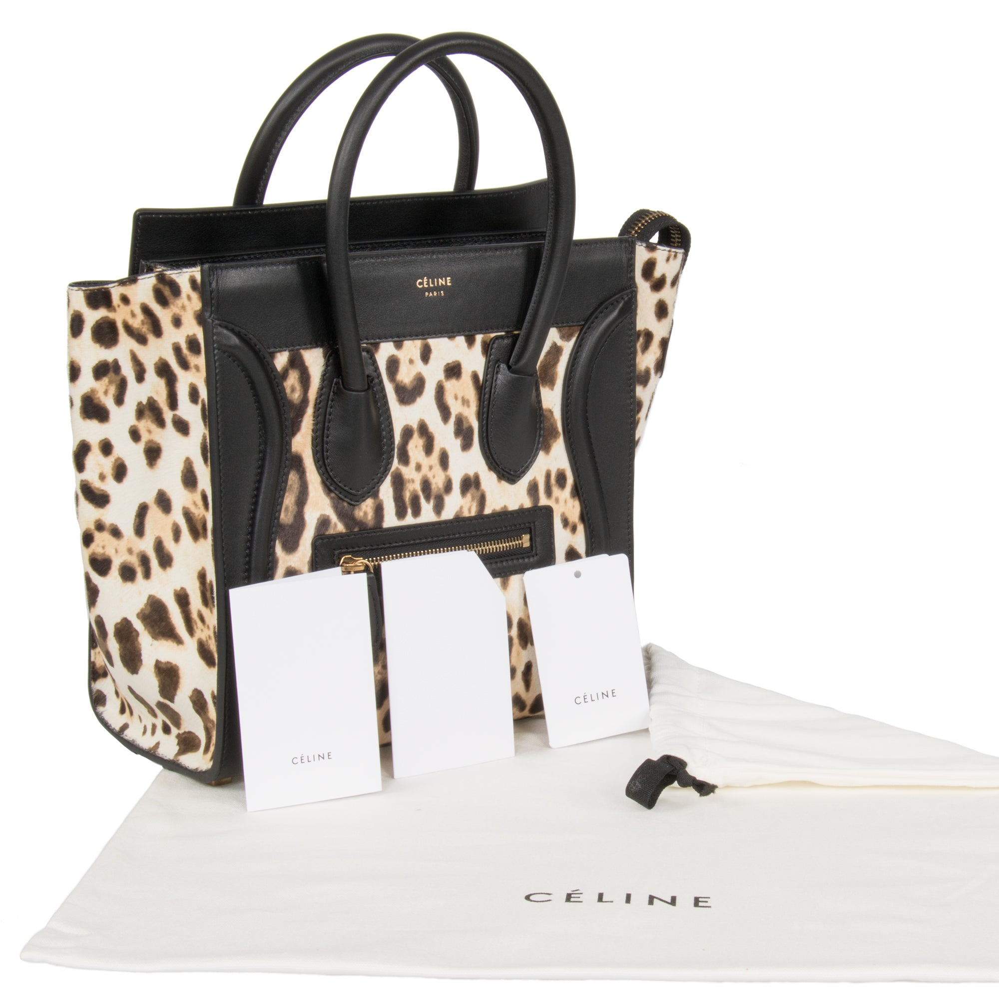 Céline Micro Luggage Tote Bag | Leopard and Black Print