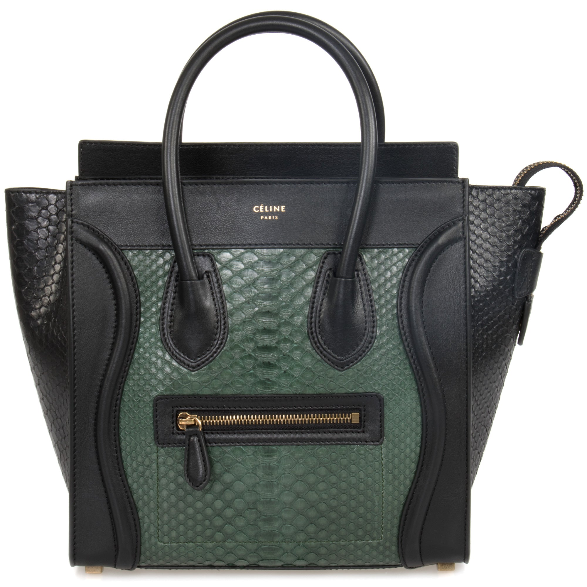 Céline Micro Emerald Green and Black Python Handbag | Black Leather