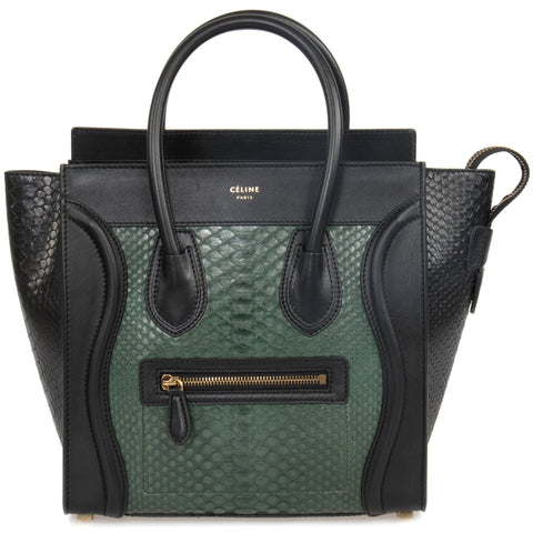 Celine Micro Emerald Green and Black Python Handbag | Black Leather