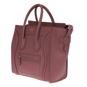 Céline Micro Luggage Leather Bag | Bordeaux with Gold Hardware